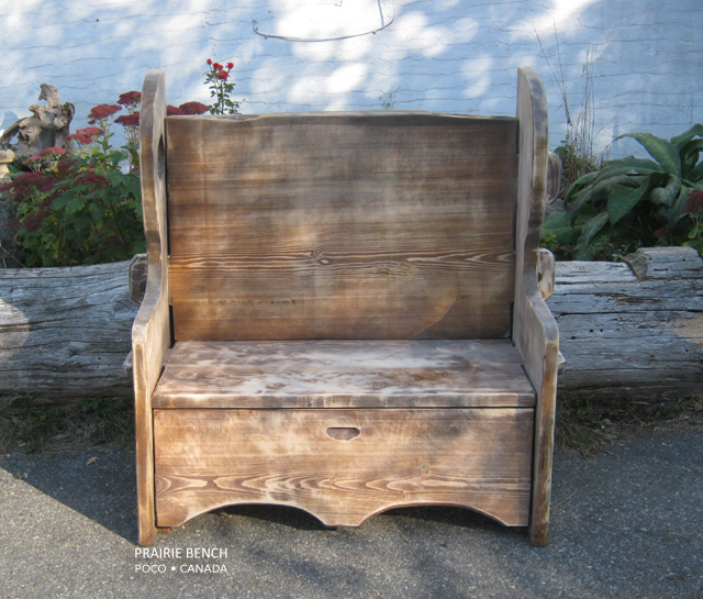 Settle Bench Rustic Finish Prairie Bench