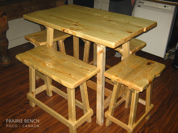 "Five piece cookery table and benches. 42""L x 28""W."