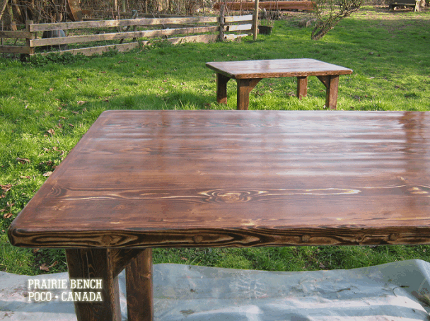 prairie bench old plank wood tables