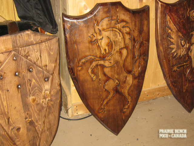 Prairie Bench wood battle shields