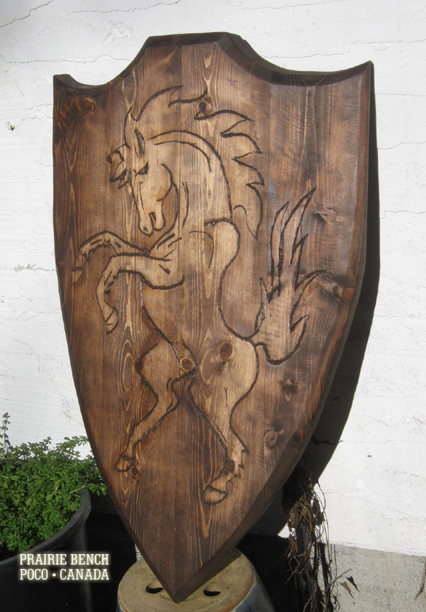 Prairie Bench wood horse shield 1